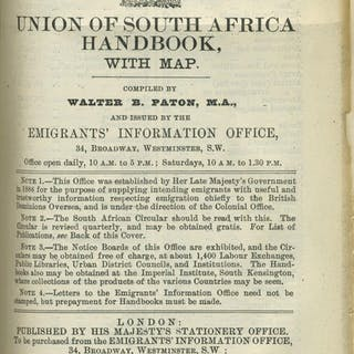 Union of South Africa Handbook, with map. Handbook No. 9 Paton, Walter AFRICA