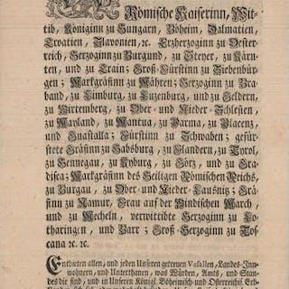 Wir Maria Theresia von Gottes Gnaden Römische Kaiserin