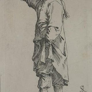 Uomo che cammina indicando con la mano destra Salvator...