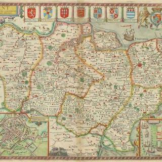 1627 Original Large Antique Map KENT by John Speed hand...