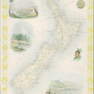 "1850 Rare Original Antique Map of ""NEW ZEALAND"" by TALLIS..."