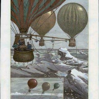 1880 Original Antique Print HOT AIR BALLOON North Pole...