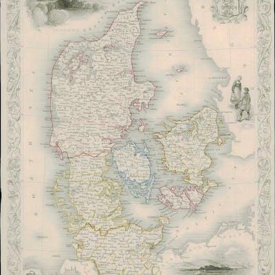 1850 Illustrated Original Antique Map of \