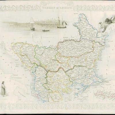 1850 Original Illustrated Antique Map \