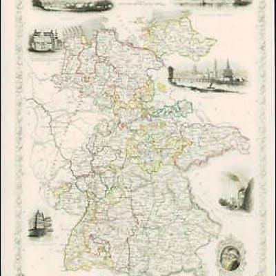 1850 Original Illustrated Antique Map of \