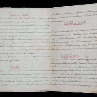 Ricettario manoscritto di gastronomia della seconda metà...