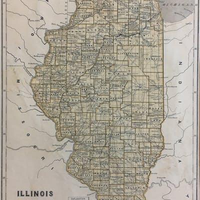 Illinois MORSE, Sidney Edwards and BREESE, Samuel 19TH CENTURY,ANTIQUE,ILLINOIS