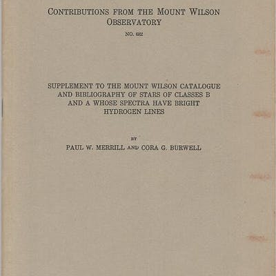 Supplement to the Mount Wilson catalogue and bibliography...
