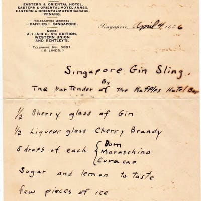 Manuscript Cocktail Recipe for Singapore Gin Sling on...