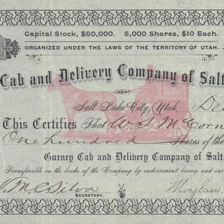 Gurney Cab and Delivery Company of Salt Lake City Stock Certificate