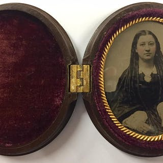 Ninth Plate Oval Geometric Union Case with Hand-Tinted Tintype of Young Woman