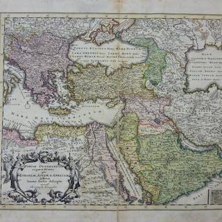 Orig. kolorierter Kupferstich: Portae Ottomanicae regna & ditiones per Europam