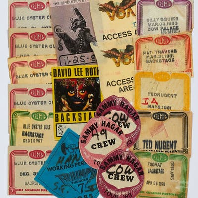 Back Stage Passes or Patches for Various Heavy Metal Music Tours