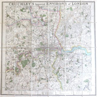 Cruchley's Improved Environs of London CRUCHLEY, G.F. Maps & Atlases