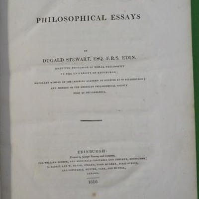 PHILOSOPHICAL ESSAYS Stewart, Dugald Philosophy
