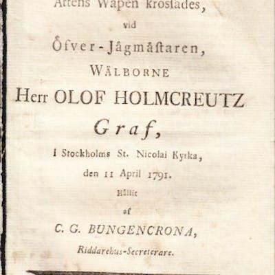 Tal, då adelige Holmcreutzske ättens wapen krossades