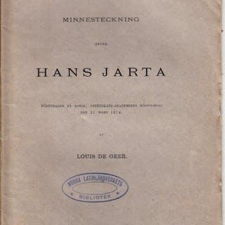 Minnesteckning öfver Hans Järta föredragen på kongl