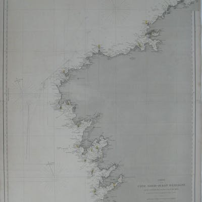Map Of North West Spain.Original 1871 Nautical Map Northwest Spain Lighthouses Barnebys