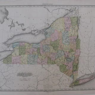 Original 1825 Tanner Engraved Map NEW YORK Hand Color...