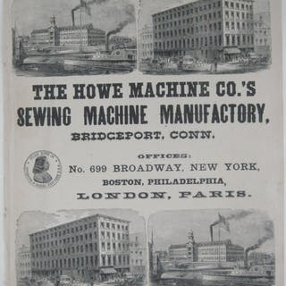 Original 1893 Broadside HOWE SEWING MACHINE MANUFACTORY...