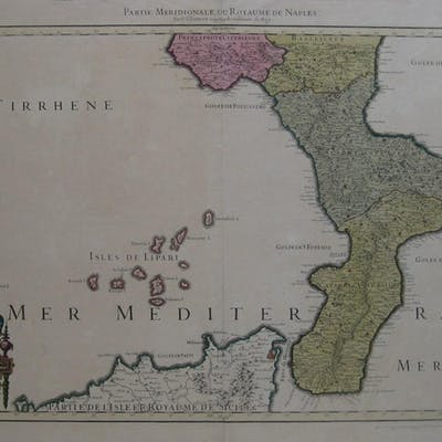 Original 1781 Jaillot Map KINGDOM OF NAPLES Italy...