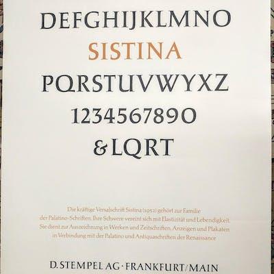 Sistina. ABCDEFGHIJCLMNOPQRSTUVWXYZ ZAPF, Hermann Books About Books,Typography