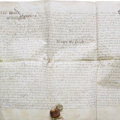Manuscript indenture from the reign of Queen Elizabeth I...