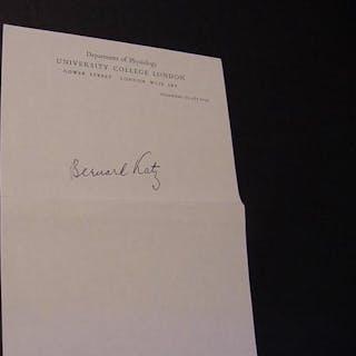 Autograph Katz, Bernard Sir (1911-2003) Autographs,NOBEL WINNERS,SIGNED ITEMS