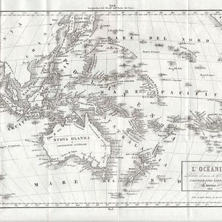 Carta geografica dell'Autralia, Nuova Zelanda e arcipelago. OCEANIA (L') .