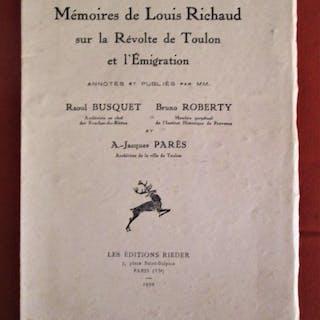 Mémoires de Louis Richaud sur la révolte de Toulon et l'émigration