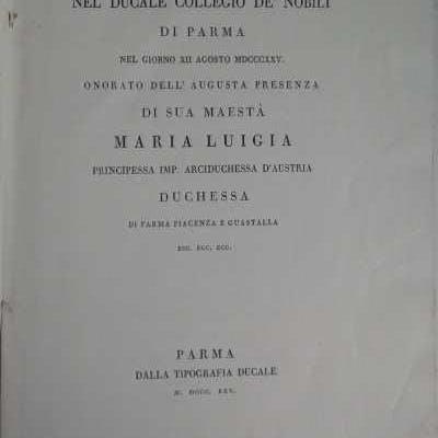 Teatro d'Onore nel Ducale Collegio de' Nobili di Parma...
