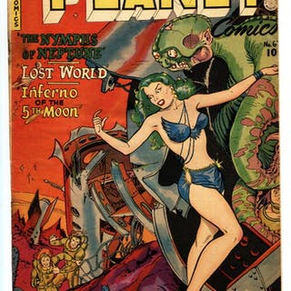 Planet #67 GGA cover-Golden-Age-Fiction House comic book...