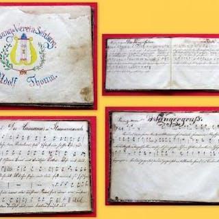 Handgeschriebenes Noten-Buch mit Text des Gesang=Verein=Sulzburg