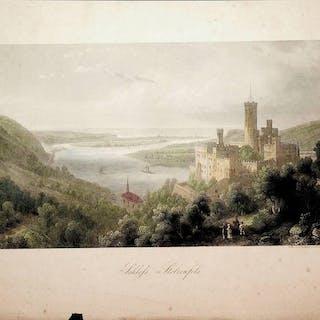 Koblenz / Schloss Stolzenfels   Grafik-Ansichten-Deutschland- Rheinland-Pfalz