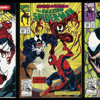 Carnage (1st) Comic Set 1-2-3 Lot Amazing Spider-Man 361...