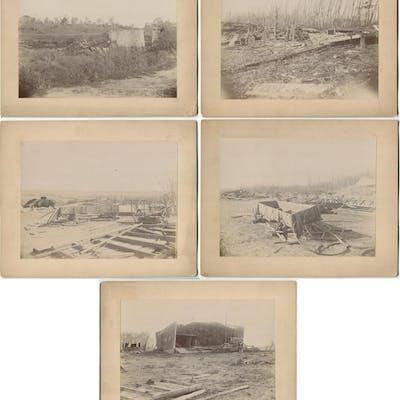 1894 Five Iowa Tornado Devastation Photographs by C