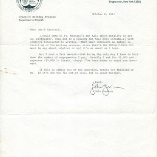 1981 John Gardner Accepts Invitation to Student Lecture...