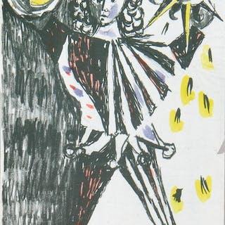 Leber, Paul. Harlekin. Farblithographie Lithografie Leber, Paul. Kunst