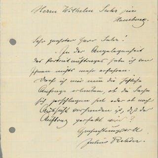 Eigenh. Brief mit U. Rehder, Julius, Maler (1861-1955). Autographs: Art