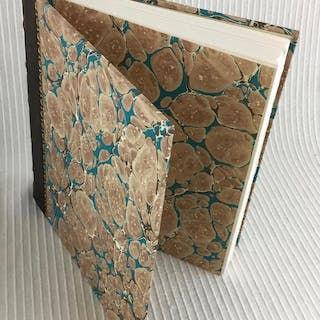 Blank Note or Sketch Book: Marbled Boards quarter hand-dyed brown calf