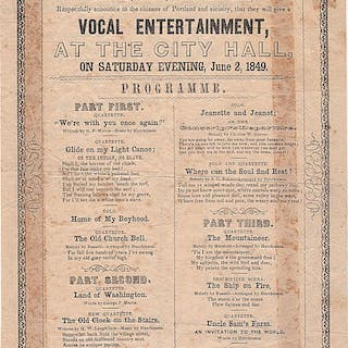Broadside announcing a concert by the Hutchinson Family