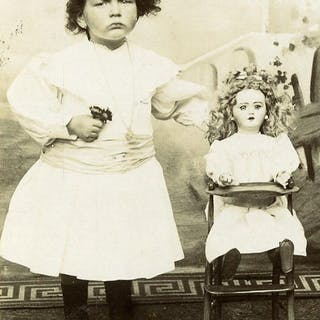 France Tourcoing Girl & her Doll in high chair Old CDV...