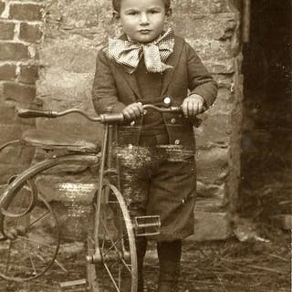 France Children Game Boy & his Tricycle Old CDV Photo...