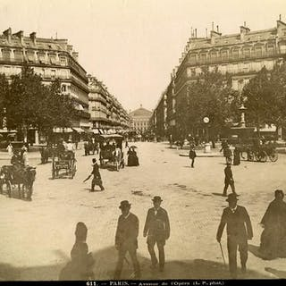 France Paris Busy Opera Avenue Horse drawn Cars old Photo...