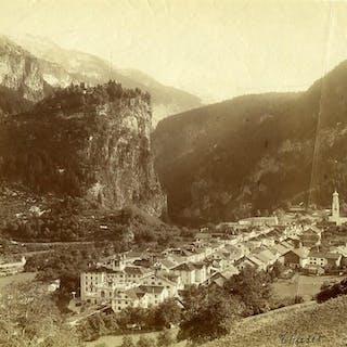 Switzerland Thusis panorama Mountain old Photo Braun 1880 Ad BRAUN Cities