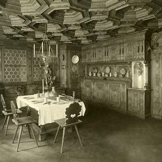 Switzerland Basel Museum interior Dining room old Photo...