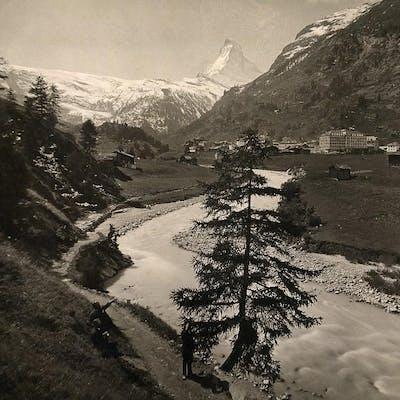Switzerland Zermatt panorama River Mountain old Schroeder...