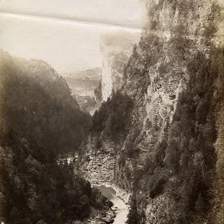 Switzerland Viamala Panorama Mountain Gorge old Photo...