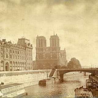 France Paris Seine Cathedrale Notre Dame Cathedral old...