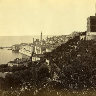 France Menton Town & Port Panorama old Photo 1880   Cities